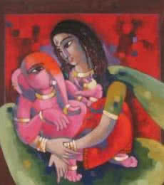 My Mother 1 | Painting by artist Sekhar Roy | acrylic | Canvas