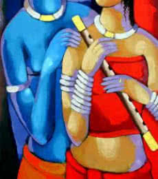 Figurative Acrylic Art Painting title Romantic Couple IV by artist Sekhar Roy