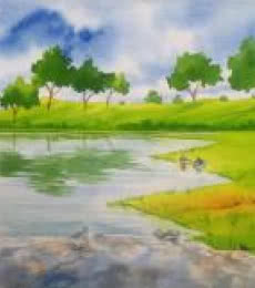 Landscape Watercolor Art Painting title 'Amenity' by artist Rahul Salve