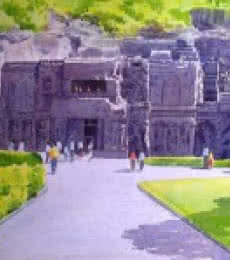 Place Watercolor Art Painting title 'Entrance Of Ellora Caves' by artist Rahul Salve