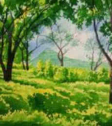Landscape Watercolor Art Painting title 'Green Peace' by artist Rahul Salve