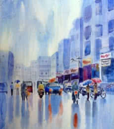 Rahul Salve | Watercolor Painting title Monsoon on Monsoon | Artist Rahul Salve Gallery | ArtZolo.com