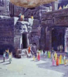 Place Watercolor Art Painting title One fine day at the ellora caves II by artist Rahul Salve