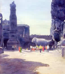 Rahul Salve | Watercolor Painting title One Fine Day At The Ellora Caves III on Paper | Artist Rahul Salve Gallery | ArtZolo.com