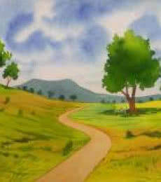 Landscape Watercolor Art Painting title 'One Fine Day' by artist Rahul Salve
