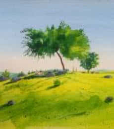 Landscape Watercolor Art Painting title 'Picnic' by artist Rahul Salve