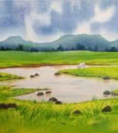 Landscape Watercolor Art Painting title 'Rainy Day I' by artist Rahul Salve