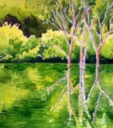 Landscape Watercolor Art Painting title Reflection by artist Rahul Salve