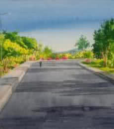 Landscape Watercolor Art Painting title 'Right Turn' by artist Rahul Salve
