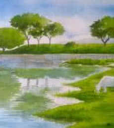 Rahul Salve Paintings | Watercolor Painting - Serenity by artist Rahul Salve | ArtZolo.com