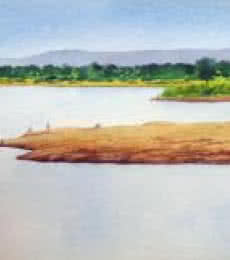 Landscape Watercolor Art Painting title Summer time by artist Rahul Salve