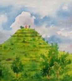 Rahul Salve | Watercolor Painting title Temple on the hill on Paper | Artist Rahul Salve Gallery | ArtZolo.com