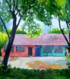 Rahul Salve Paintings | Watercolor Painting - Village House by artist Rahul Salve | ArtZolo.com