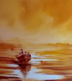 Narayan Shelke | Oil Painting title The Boat on Canvas | Artist Narayan Shelke Gallery | ArtZolo.com