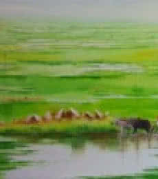Landscape VIII | Painting by artist Narayan Shelke | oil | Canvas