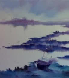 Seascape Oil Art Painting title 'Serenity of Nature I' by artist Narayan Shelke