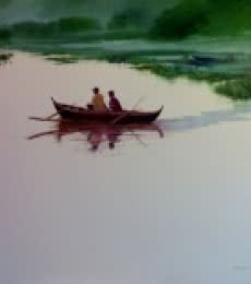 Seascape Oil Art Painting title 'Fishermen in Boat' by artist Narayan Shelke