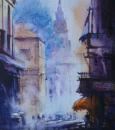 Cityscape V | Painting by artist Narayan Shelke | watercolor | Paper
