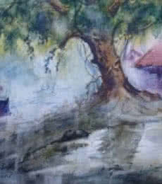 Narayan Shelke Paintings | Watercolor Painting - Cityscape IX by artist Narayan Shelke | ArtZolo.com
