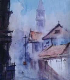 Narayan Shelke | Watercolor Painting title Cityscape X on Paper | Artist Narayan Shelke Gallery | ArtZolo.com