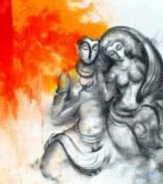Narayan Shelke | Acrylic Painting title Shiv Parvati on Canvas | Artist Narayan Shelke Gallery | ArtZolo.com
