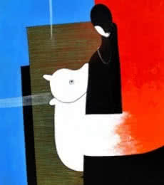 Narayan Shelke | Acrylic Painting title Cow on Canvas | Artist Narayan Shelke Gallery | ArtZolo.com