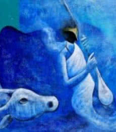 Figurative Acrylic Art Painting title 'Musician and the Cow' by artist Narayan Shelke