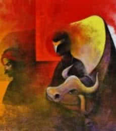 Figurative Acrylic Art Painting title 'Villager and the Cow' by artist Narayan Shelke