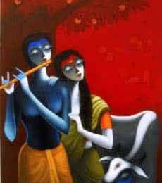 The Family Of Krishna | Painting by artist Santosh Chattopadhyay | acrylic | Canvas
