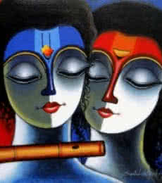 Santosh Chattopadhyay | Acrylic Painting title Eternal Love II on Canvas | Artist Santosh Chattopadhyay Gallery | ArtZolo.com