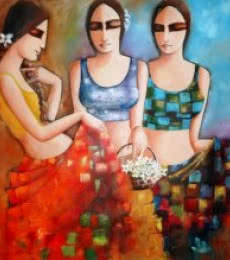 Figurative Acrylic Art Painting title 'Three Friends' by artist Kamal Devnath