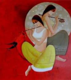 Kamal Devnath | Acrylic Painting title Radha Krishna on Canvas | Artist Kamal Devnath Gallery | ArtZolo.com