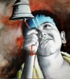 Figurative Acrylic Art Painting title Aastha II by artist Kamal Nath
