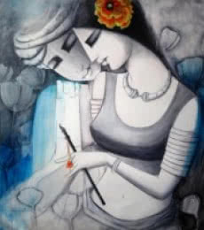 Figurative Acrylic Art Painting title 'Love' by artist Kamal Nath