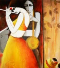 Figurative Acrylic Art Painting title 'Sakhi' by artist Kamal Nath