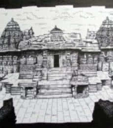 Ink Paintings | Drawing title Temple on Ivory Paper | Artist Rajendra V