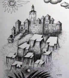 Cityscape Ink Art Drawing title Fort by artist Rajendra V