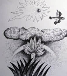 Nature Ink Art Drawing title 'Dusk' by artist Rajendra V