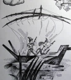 Landscape Ink Art Drawing title 'Fisherman' by artist Rajendra V