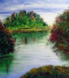 Landscape Oil Art Painting title 'Riverside' by artist Rajendra V