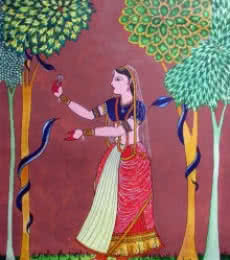 Lady feeding snakes   Painting by artist Rajendra V   watercolor   Paper