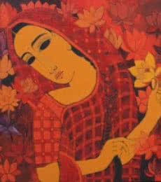 Lady With Lotus | Painting by artist Mamta Mondkar | acrylic | Canvas