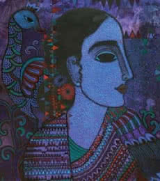 Figurative Acrylic Art Painting title 'Lady With Peacock' by artist Mamta Mondkar
