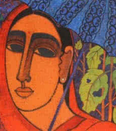 Lady With Umberella | Painting by artist Mamta Mondkar | acrylic | Canvas