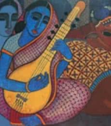 Figurative Acrylic Art Painting title 'Megh Malhar' by artist Mamta Mondkar