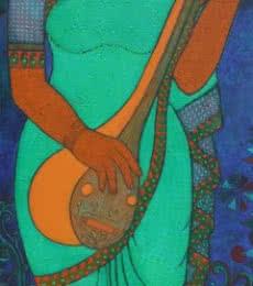 Figurative Acrylic Art Painting title 'Musician' by artist Mamta Mondkar