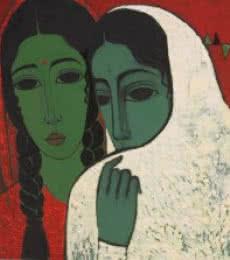 Figurative Acrylic Art Painting title 'Sakhi' by artist Mamta Mondkar