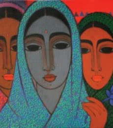 Figurative Acrylic Art Painting title 'Three Girls' by artist Mamta Mondkar
