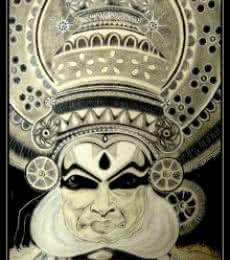 Figurative Charcoal Art Drawing title 'Kathakali' by artist Aninda Dey