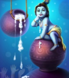 Little Krishna | Digital_art by artist Raviraj Kumbhar | Art print on Canvas